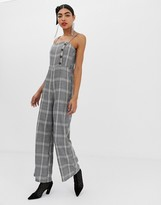 UNIQUE21 checked jumpsuit with buttons and waist belt