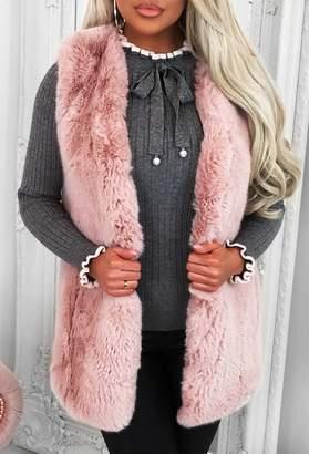 Pink Boutique Winter Baby Blush Pink Faux Fur Gilet