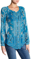 Lucky Brand Sheer Printed Blouse