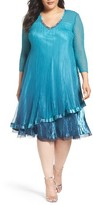 Komarov Plus Size Women's Tiered Ombre Charmeuse & Chiffon Dress