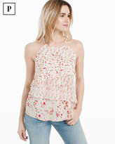 White House Black Market Petite Tiered Floral Top