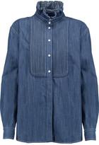 Sonia Rykiel Ruffled Pintucked Denim Shirt