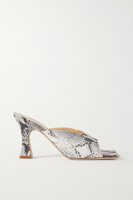 A.W.A.K.E. Mode Marion Snake-effect Leather Mules - Snake print