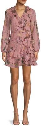 Bardot Frill Floral-Print Mini Dress