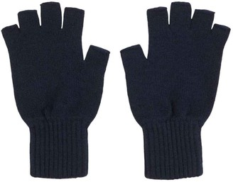 Graham Cashmere - Womens Cashmere Fingerless Gloves - Made in Scotland - Gift Boxed (Navy Blue)