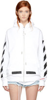 Off-White White Brushed Diagonal Zip Hoodie