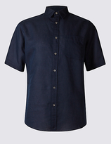 M&S Collection Linen Blend Shirt with Pocket