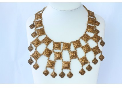 Miriam Haskell pristine (PR Vintage Egyptian Revival Bib Necklace