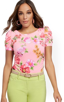 New York & Co. Floral Ruched Puff-Sleeve Top - 7th Avenue