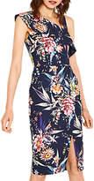 Oasis Floral Print Pencil Dress, Blue/Multi