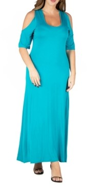 24seven Comfort Apparel Women's Plus Size Cold Shoulder Maxi Dress