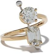 Delfina Delettrez Diamond Foundry x Dover Street Market 18kt yellow and white gold diamond Piercing ring