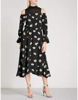 Mo&Co. Cold-shoulder high-neck floral-print crepe dress