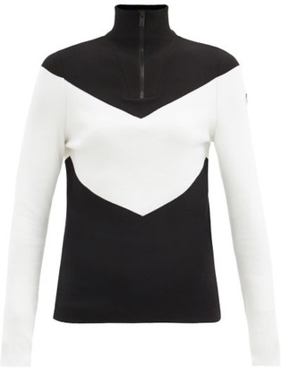 Fusalp Scarlett Chevron Quarter-zip Sweater - Black White