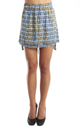 Suno Apron Skirt in Blue Multi