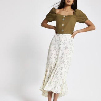 River Island Womens Cream ditsy floral maxi skirt