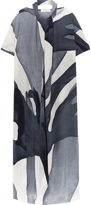 Max Mara Ancella Cutout Printed Silk Crepe De Chine Midi Dress