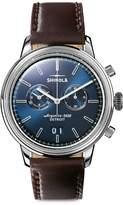 Shinola The Bedrock Stainless Steel Leather-Strap Chronograph Watch