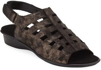 Sesto Meucci Ellia Laser-Cut Leather Comfort Sandal