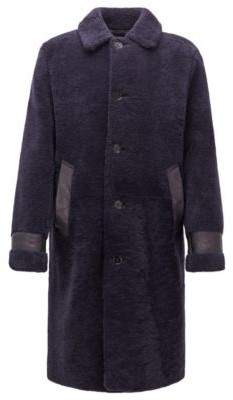 Relaxed-fit shearling coat with leather trims