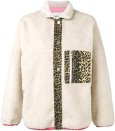 Sandy Liang - Checkers leopard print jacket - women - Cotton/Polyester/Lamb Fur - 38