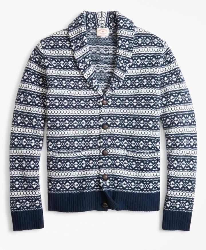 Brooks Brothers Fair Isle Wool-Blend Shawl-Collar Cardigan