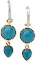Fossil Earrings, Gold Tone Teal Dyed Jade Double Drop Earrings