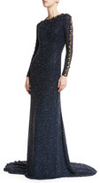 Jenny Packham Beaded Long-Sleeve Jewel-Neck Gown, Dark Navy