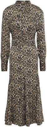 Equipment Lenora Leopard-print Washed-crepe Midi Dress