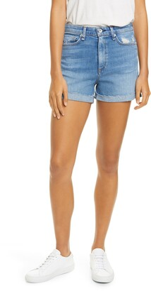 Rag & Bone Nina Distressed High Waist Denim Cutoff Shorts