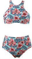 Qiaoer Womens Leaves Pattern High Waist 2 Piece Bikini Set Bathing Suit (XXL, )