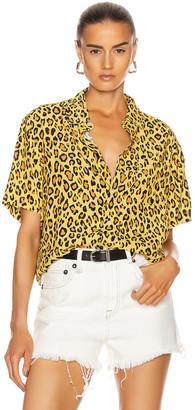 R 13 Tony Shirt in Yellow Leopard   FWRD