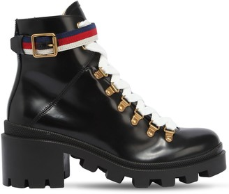 Gucci 60mm Brushed Leather Boots