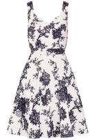 Quiz Grey Satin China Print Sweetheart Dress