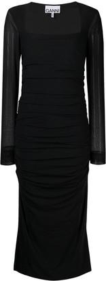 Ganni Square-Neck Ruched Midi-Dress