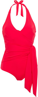 Onia Elena Wrap-effect Halterneck Swimsuit