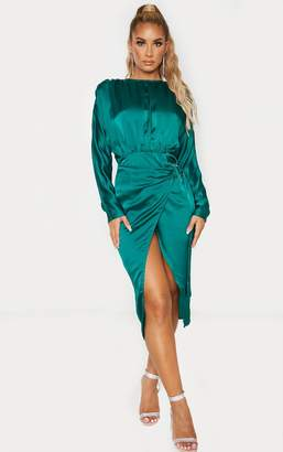 PrettyLittleThing Emerald Green Satin Wrap Skirt Backless Midi Dress