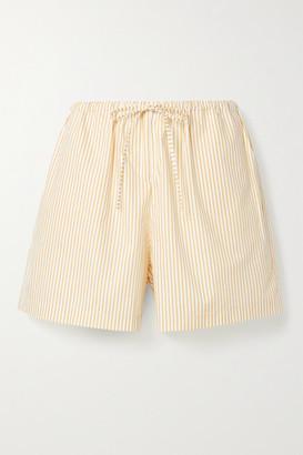 STILL HERE Scrunch Striped Cotton-poplin Shorts - Mustard