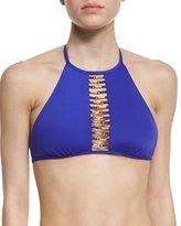 Trina Turk Riviera High-Neck Open-Front Swim Top