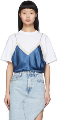 Alexander Wang White and Blue Silk Camisole Overlay T-Shirt