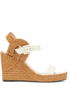Jimmy Choo Delphi 100 Leather And Jute Wedge Sandals - White