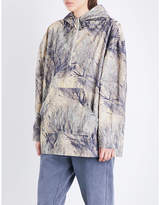 Yeezy Ladies Blue Exposed Zip Season 4 Forest-Printed Cotton Jacket