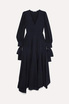 Stella McCartney Asymmetric Bow-detailed Silk Crepe De Chine Maxi Dress - Navy