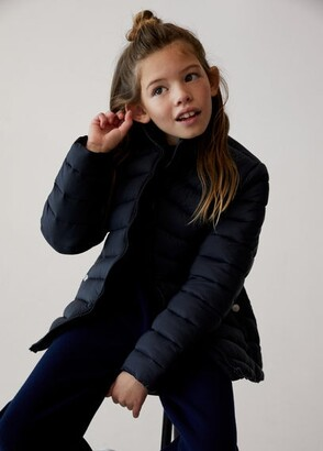 MANGO Long collar quilted coat