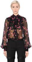 Alexander McQueen Butterfly Printed Silk Chiffon Shirt