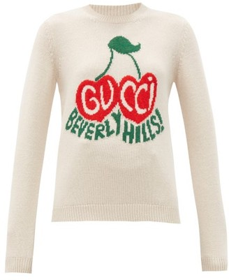 Gucci Beverly Hills Cherry-intarsia Wool Sweater - Ivory