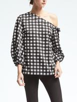 Banana Republic Check One-Shoulder Top