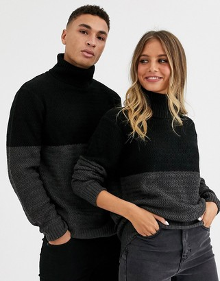 Another Influence unisex cut and sew roll neck cable jumper in grey