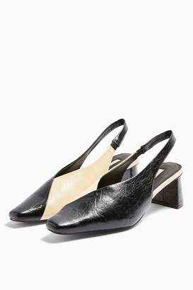 Topshop Womens Jagger Black And White Slingback Shoes - Monochrome