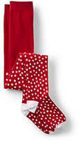 Lands' End Girls Pattern Tights-Red Snowy Dot